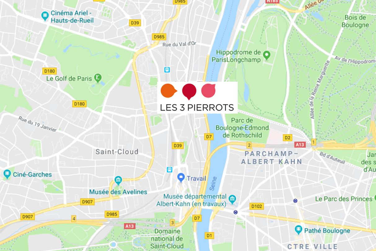 Carte du théâtre des 3 Pierrots